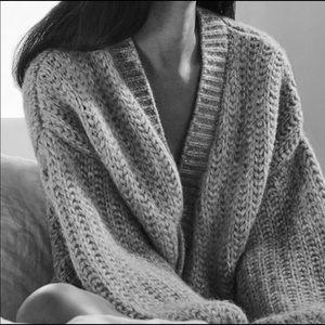 RePosh Cuyana OS Alpaca Cozy Grey Cardigan Sweater